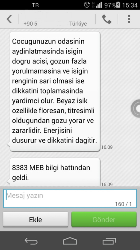 MEB aydinlatma SMS